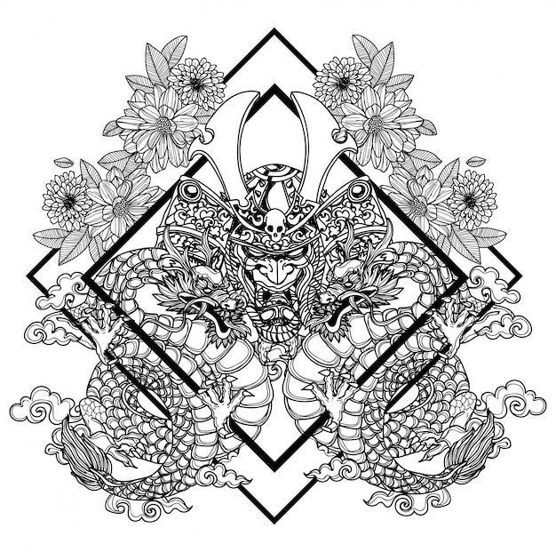 Tattoo art warrior  dargon hand drawing and sketch black and white Premium Vector