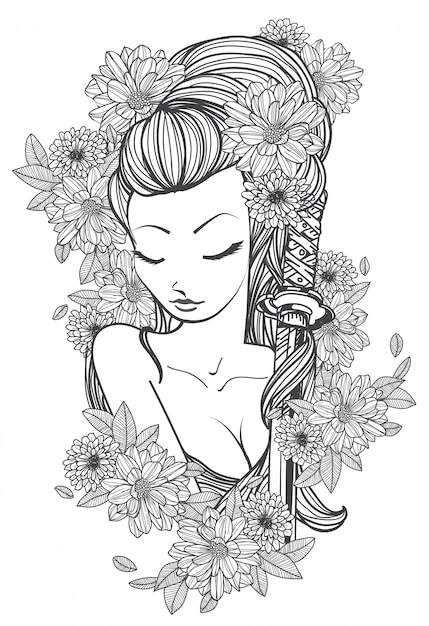 Tattoo art women and flower hand drawing and sketch black and white Premium Vector