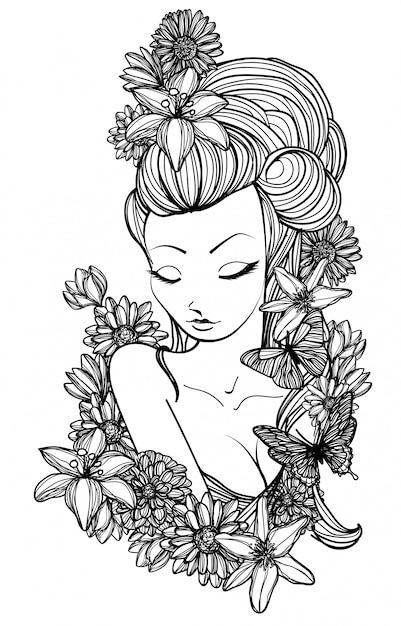 Tattoo art women and flower hand drawing Premium Vector