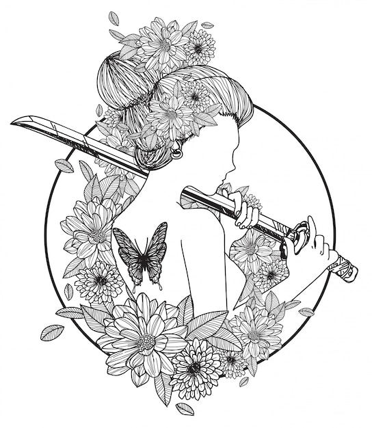 Tattoo art women hold a sword hand drawing and sketch black and white Premium Vector