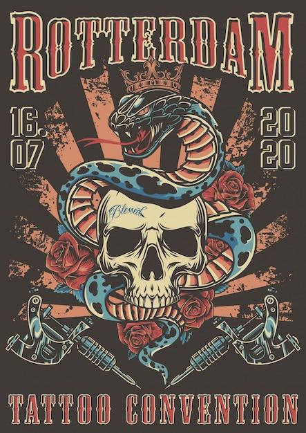 ロッテルダムのタトゥー大会カラフルなポスター 無料ベクター