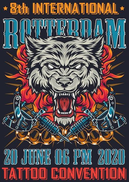 ロッテルダムのタトゥーポスターコンベンションビンテージポスター 無料ベクター