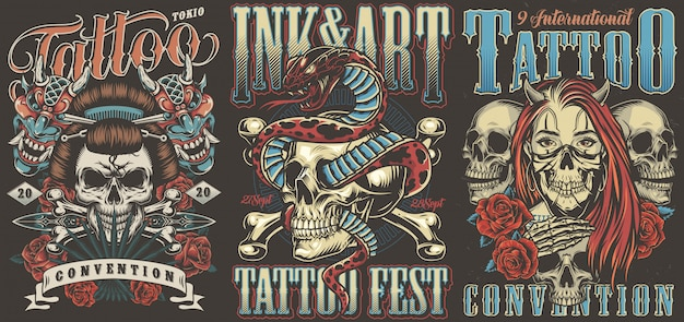 Tattoo conventions colorful vintage posters Premium Vector