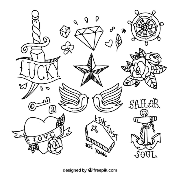 Tattoo Designs Vector Free Download: Tattoo Doodle Collection Vector