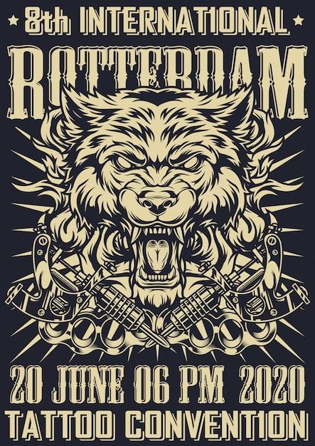 Tattoo fest in rotterdam monochrome poster Free Vector