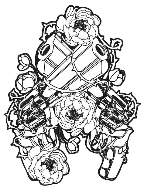 Tattoo gun and flower Premium Vector