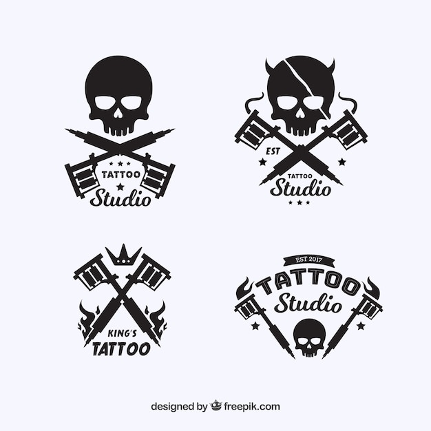 tattoo logo collection with skull design vector free download. Black Bedroom Furniture Sets. Home Design Ideas