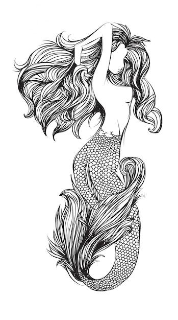 Tattoo mermaid Premium Vector