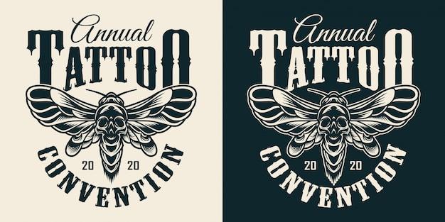 Stampa monocromatica vintage del salone di tatuaggi Vettore gratuito
