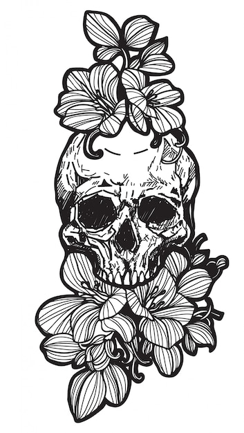 Tattoo skull and flower | Premium Vector