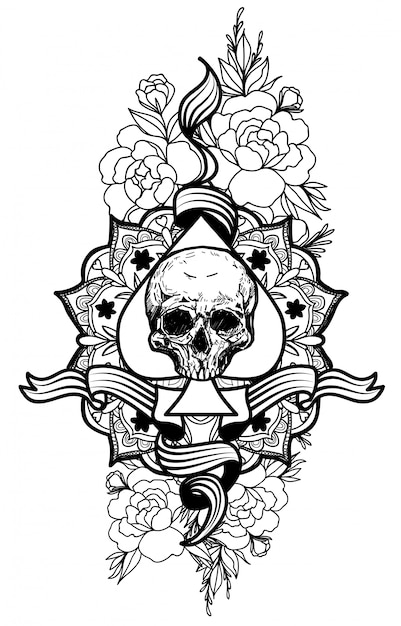 Tattoo skull and flower Premium Vector