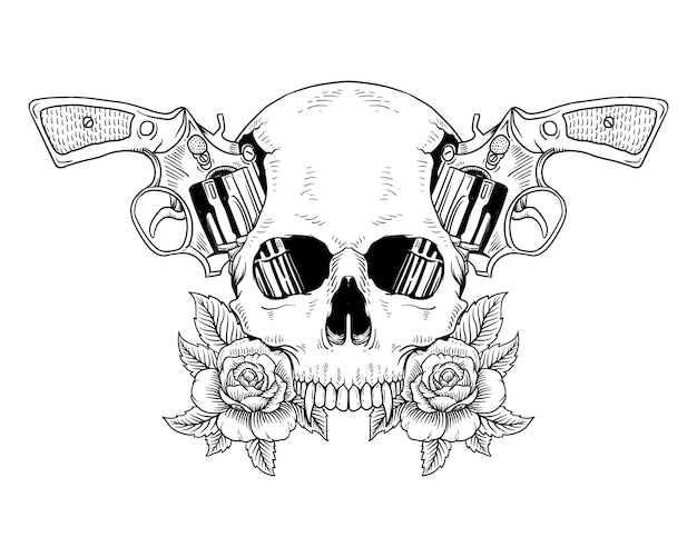 Tattoo skull and gun roses isolated Premium Vector