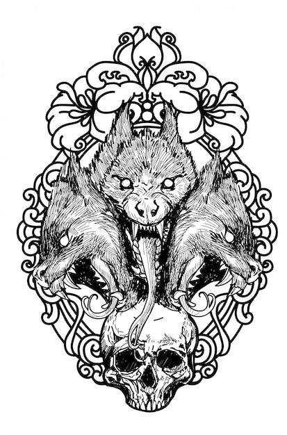 Tattoo skull and wolf hand drawing sketch black and white Premium Vector