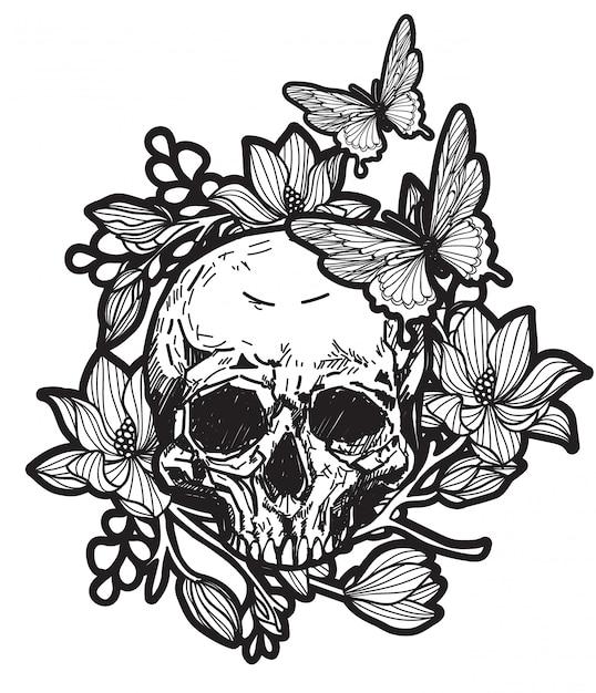 Tattoo skull Premium Vector