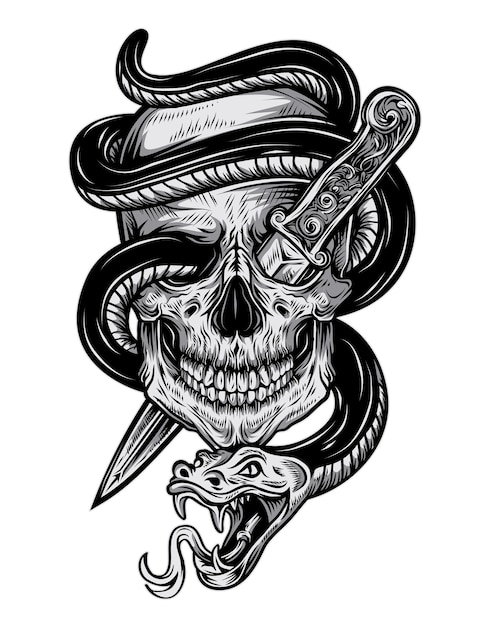 Cool Skull Logos With Guns Tattoo snake skull Vec...