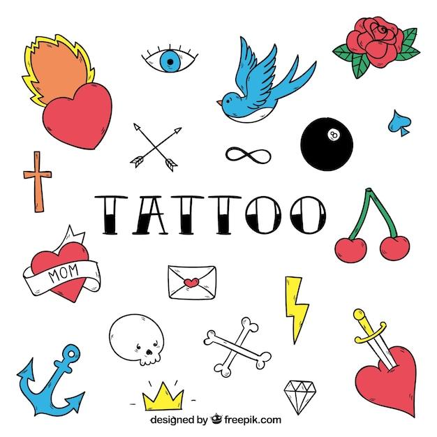 Tattoo studio badges, full color Free Vector