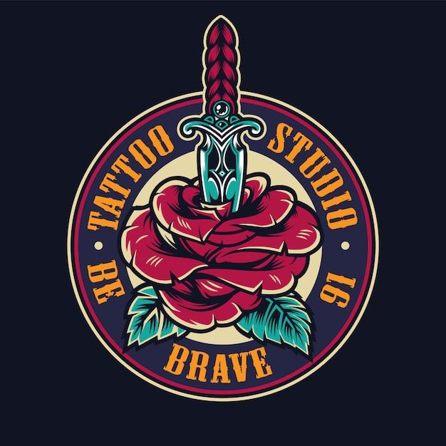 Tattoo studio colorful round logo Free Vector