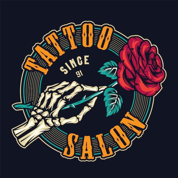 Tattoo studio colorato stampa rotonda Vettore gratuito