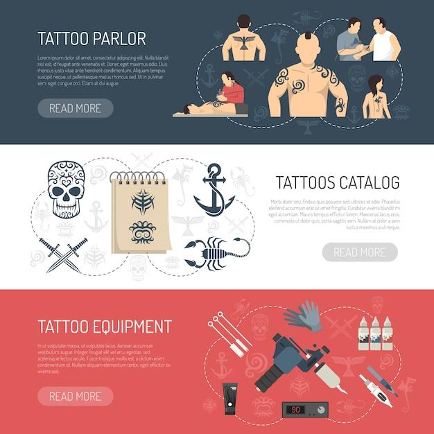 Горизонтальный баннерный набор tattoo studio Бесплатные векторы