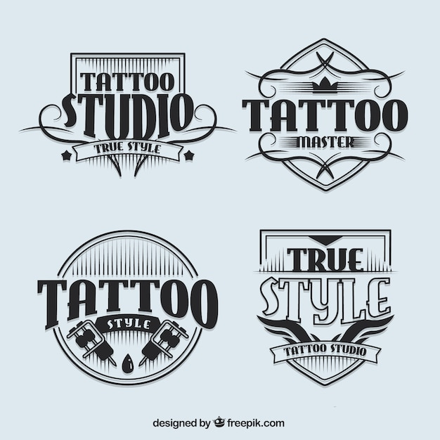 tattoo studio logotypes in vintage style vector | free download