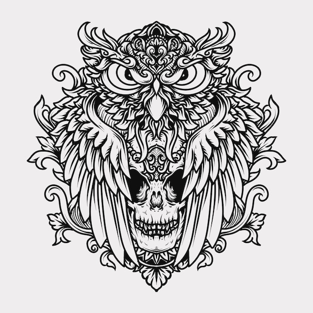 Tattoo and t-shirt  black and white hand drawn illustration engraving owl and skull Premium Vector