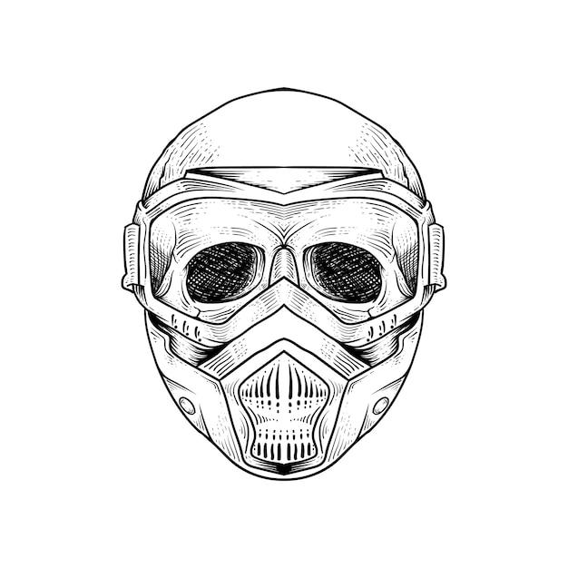 Tattoo and t shirt design skeleton wearing gas resparator mask premium Premium Vector