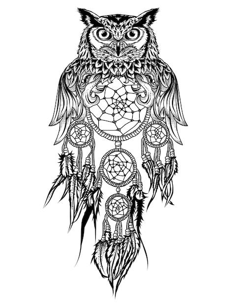 Tattoo and tshirt design owl and dream catcher premium ...