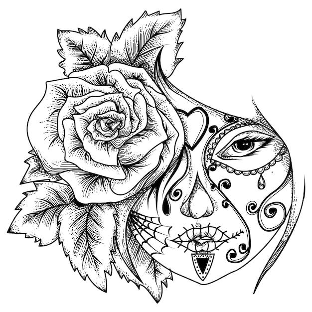 Tattoo and tshirt design  women tatto with rose Premium Vector