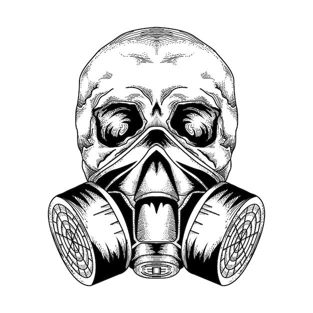Premium Vector Tattoo And Tsirt Design Skull Gas Mask