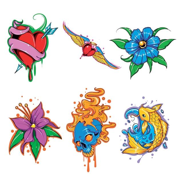 Набор векторных татуировки Premium векторы