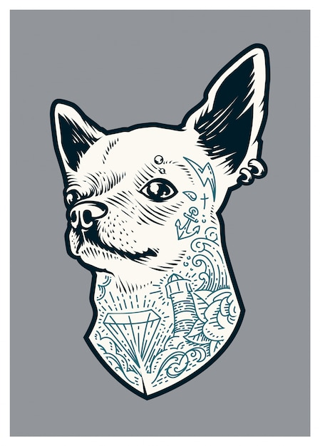 Tattooed chihuahua Free Vector