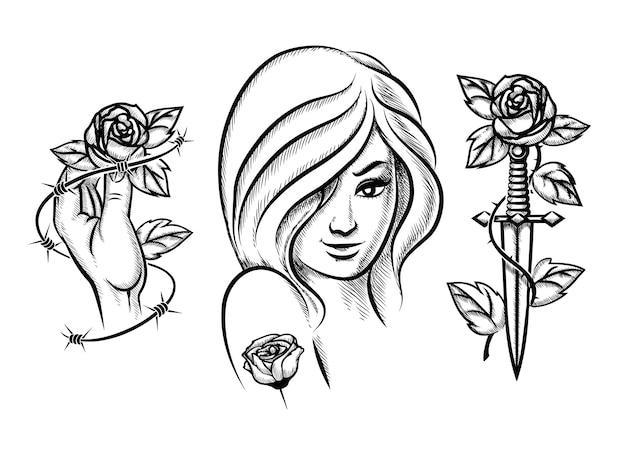 Татуировки. девушка красоты, нож, роза и колючая проволока. женская черная мода. векторная иллюстрация Бесплатные векторы