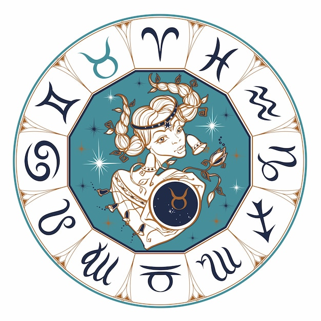 The taurus zodiac sign as a beautiful girl. Premium Vector