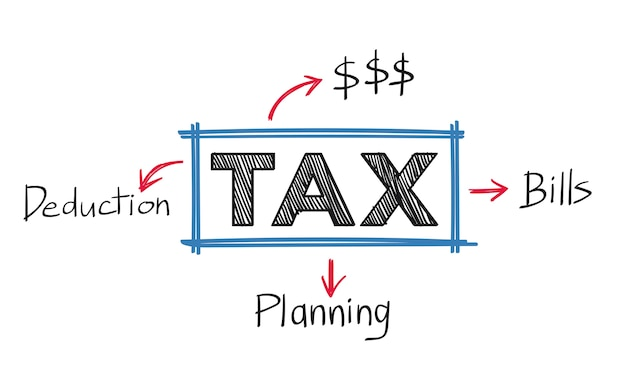 Tax and and bills illustration Free Vector