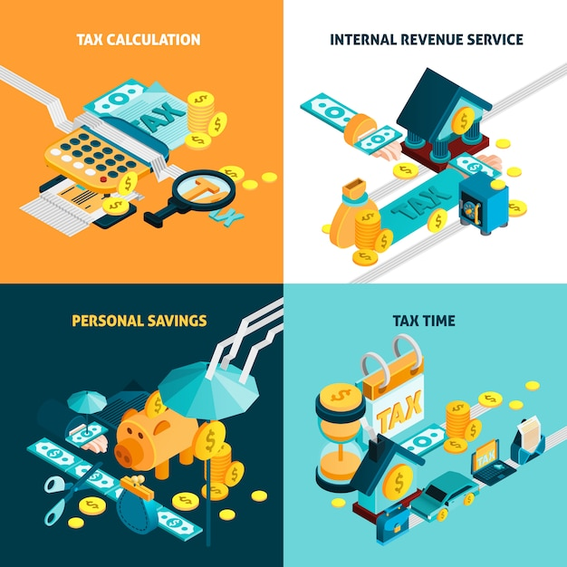 Tax concept icons set Free Vector