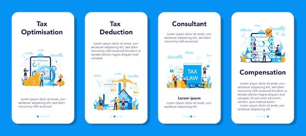 Набор баннеров мобильного приложения концепции налогового консультанта. идея учета и оплаты. финансовый счет. оптимизация налогов, удержание и возврат. Premium векторы