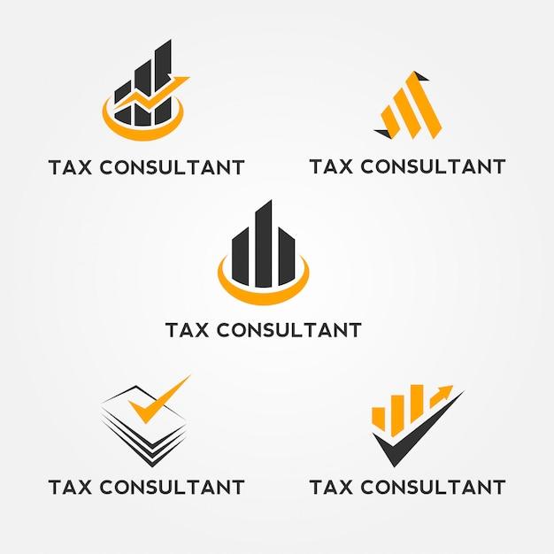 Tax consultant logo set Premium Vector