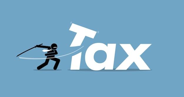 ビジネスマンによる減税。アートワークは減税と減税を描いています。 Premiumベクター
