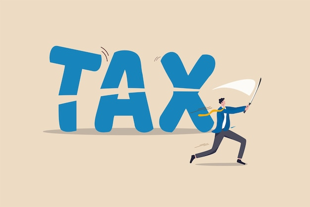 減税、経済危機における政府の政策または減税の概念のためのファイナンシャルプランニング、プロのビジネスマンのファイナンシャルアドバイザーまたはサラリーマンが剣を使ってtaxという言葉を大幅に削減しました。 Premiumベクター