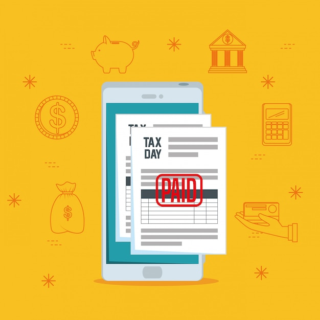 Tax day. service finance tax report with smartphone Free Vector