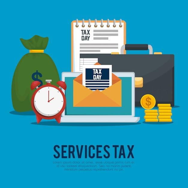 Giorno delle tasse. imposta sulle finanze di servizio con valigetta e monete Vettore gratuito