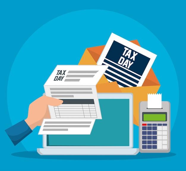 Giorno delle tasse. documento fiscale di servizio con dataphone e laptop Vettore gratuito