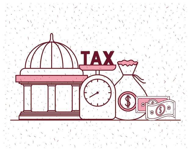 Tax day set icons Premium Vector