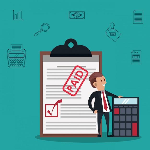 Tax day symbols and cartoons Premium Vector