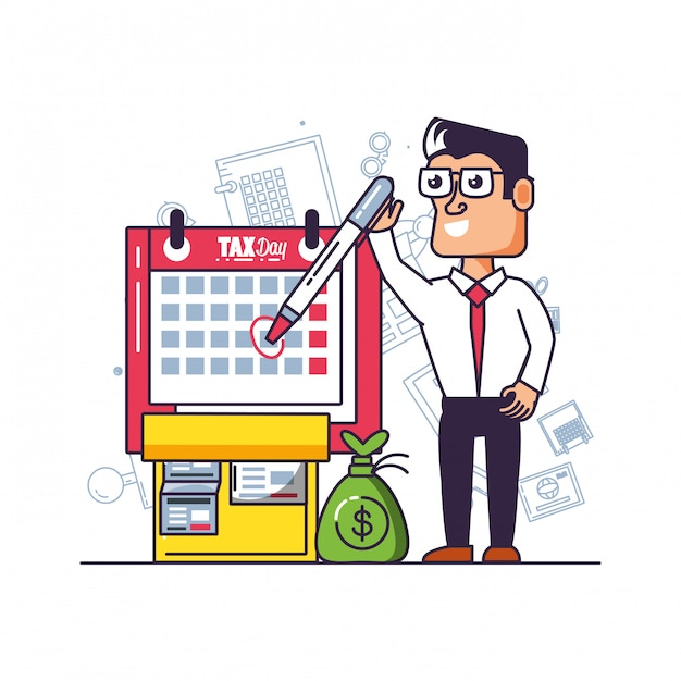 Tax day with businessman and set icons Premium Vector