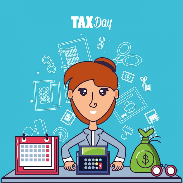 Tax day with businesswoman and set icons Premium Vector