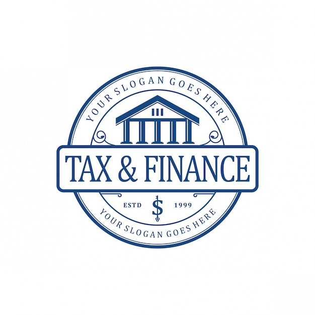 Tax & finance vintage logo Premium Vector