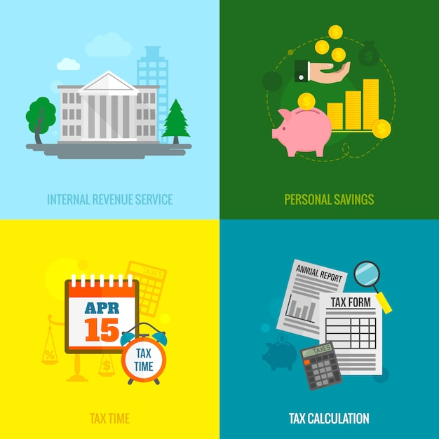 Tax flat elements composition set Free Vector