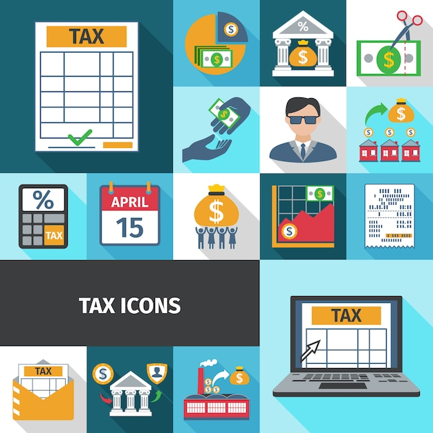 Tax flat icon set Free Vector