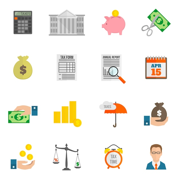 Tax icon flat Free Vector